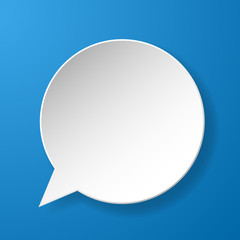 Abstract paper speech bubble on blue background