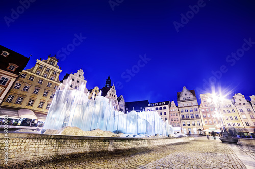 Wroclaw, Poland. The market square and the fountain at night