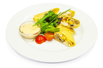 Pancake with chicken, mushroom and sauce on plate, menu