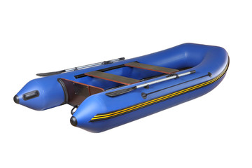 Blue rubber inflatable boat PVC with oars, isolated on white.