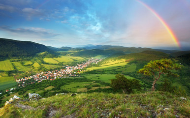 Mountain forest with rainbow - Slovakia