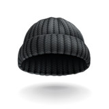 Beanie, black cap vector icon