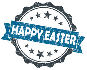 Happy Easter blue vintage seal isolated on white
