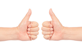 make thumbs up isolated on white