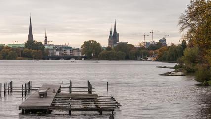 Hamburg, Altstadt, Alster, See, Herbst, Hansestadt, Deutschland