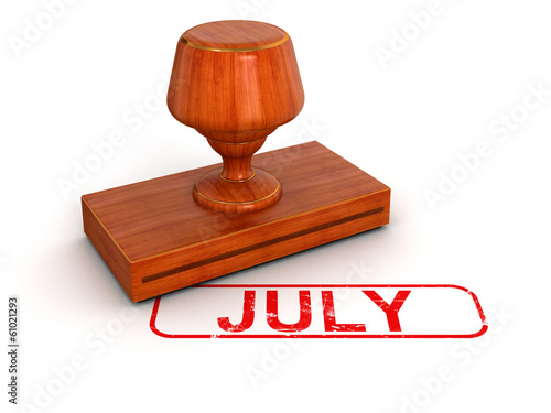 Rubber Stamp July (clipping path included)