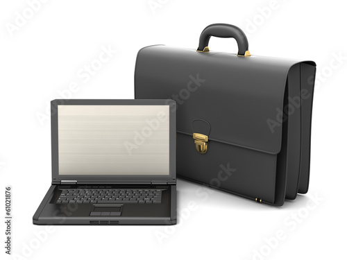 Business briefcase and laptop on white background