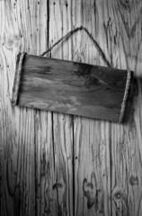 b&w wood signboard