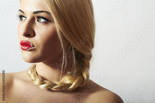 Beautiful Blond Woman with Heart on the Lips.Freak with Tress