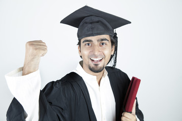 Asian student graduate raising his hand