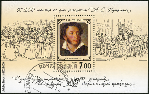 RUSSIA - 1999: shows portrait of Alexander Pushkin (1799-1837)