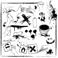 set of graffiti vandalism. Grunge design elements collection