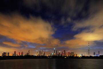 A dynamic skyline of Dubai, UAE at dawn