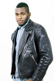 Man in casual leather jacket, fashion portrait