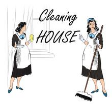 Sprzątanie. Kobiety sprzątanie pokoju. Sprzątanie pokoju pokojówki