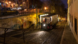 Night scene of funicular. Lisbon, Portugal.
