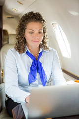 Airhostess Using Laptop In Private Jet