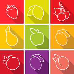 Flat design icons. Set of fruit. Vector illustration.