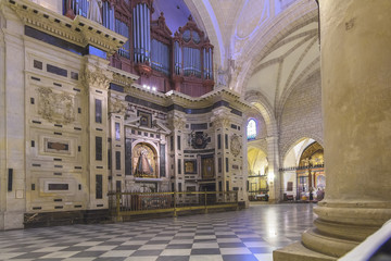 interior Cathedral of the year 1465 a day of storm, in Murcia, S