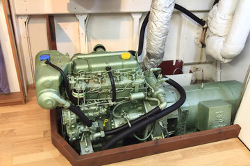 diesel engine of a small boat