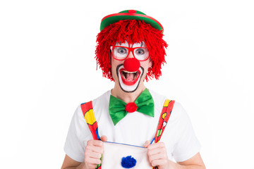 lustiger clown mit brille