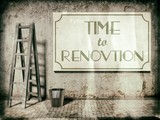 Refurbishment on building wall, Time to renovation poster