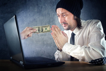 Online money funds, businessman asking for money