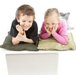 Children watching the Laptop
