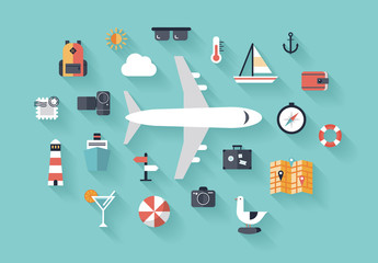 Air trip flat illustration concept