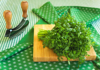 Coriander on a cutting board