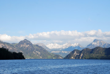Luzern, view from the lake to the mountains, Switzerland