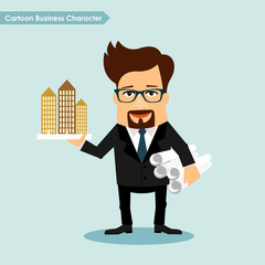 Cartoon business character architecture developer