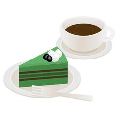 抹茶のケーキとコーヒー