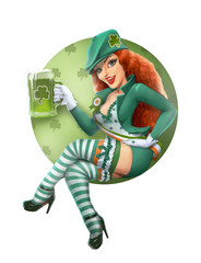 Girl in leprechaun suit with beer. Saint Patrick day. Isolated