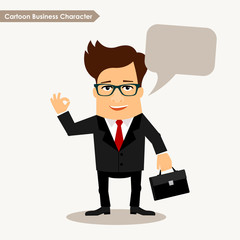 Cartoon business character with bubble speech