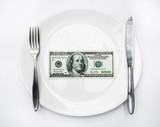 American US dollar in the white plate.
