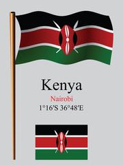 kenya wavy flag and coordinates