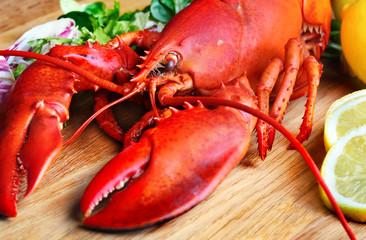 Boiled lobster and lemon