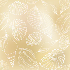 Shell seamless pattern. Sea shells vector background