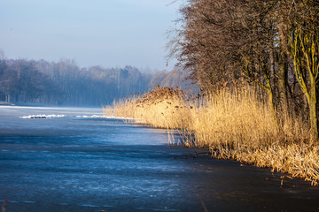 Traditional polish landscape in winter, frozen lake.