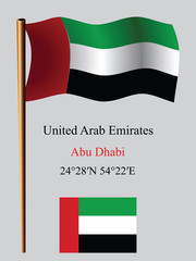 united arab emirates wavy flag and coordinates