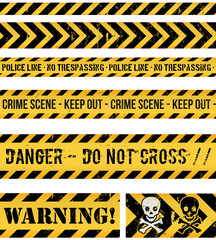 Police Line, Crime And Warning Seamless Tapes