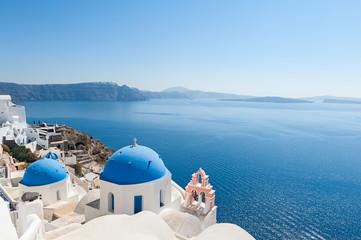 Church domes in Oia Santorini