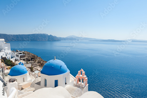 Church domes in Oia Santorini