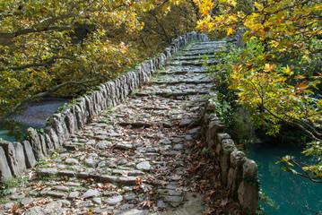 Traditional stone bridge in Zagori of Epirus, Greece