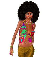 Afro hair with retro outfit