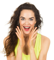 Close-up of happy surprised woman