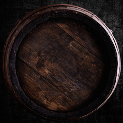 wine barrel over grunge background
