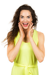 Portrait of surprised beautiful woman