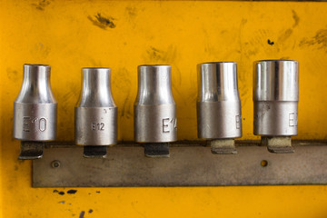 Hex Socket set in the auto tools box.  A workplace of the mechan